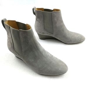 Talbots Suede Low Wedge Pull On Ankle Booties 7.5M